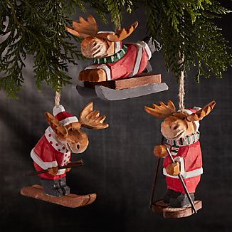 Winter Sport Carved Wood Ornaments