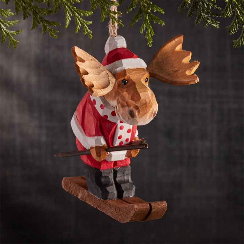 Winter Sport Skiing Moose Carved Wood Ornament
