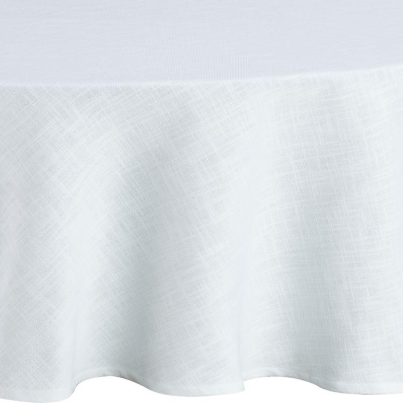 Crisp, white, 100% cotton tablecloth layers the table with nubby texture and beautiful drape.<br /><br /><NEWTAG/><ul><li>100% cotton</li><li>Oversized to allow for shrinkage</li><li>Machine wash, tumble dry; warm iron as needed</li><li>Made in India</li></ul>