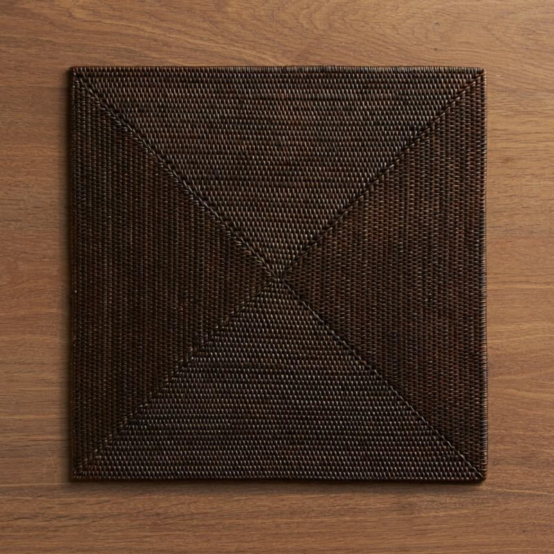 Tropical chic for the tabletop. A sophisticated square is intricately handwoven for a warm, organic texture finished in a rich espresso.<br /><br /><NEWTAG/><ul><li>60% ate, 40% rattan</li><li>Wipe with a damp cloth</li><li>Made in Indonesia</li></ul>