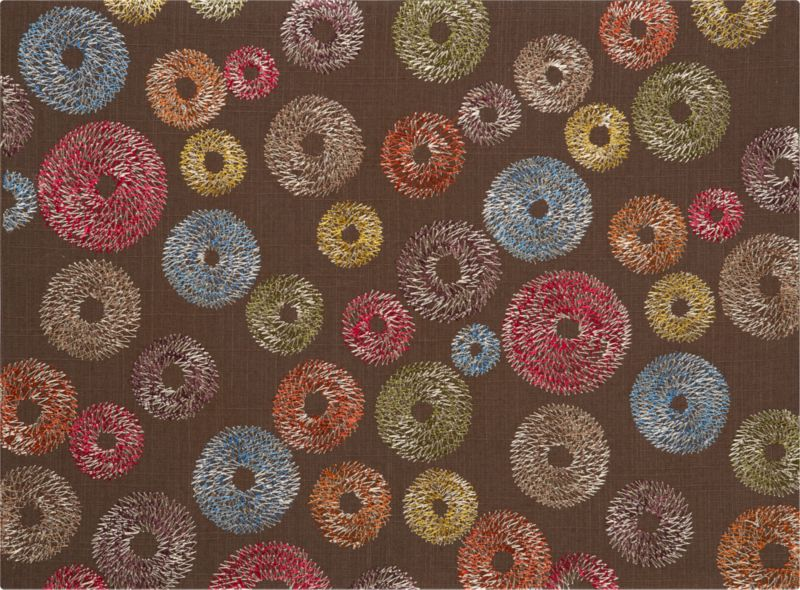 Playful two-toned geometric spirals embroidered on rustic brown cotton spin a beautiful autumn color story for the table.<br /><br /><NEWTAG/><ul><li>100% cotton</li><li>100% polyester embroidery</li><li>Machine wash; dry flat; warm iron as needed</li><li>Made in India</li></ul>