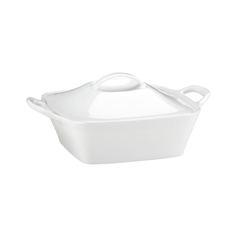 Polished potluck or oven-to-table, our exclusive deep tapered casserole in glossy white porcelain features a distinctive bevel-domed lid and generous flared handles.<br /><br /><NEWTAG/><ul><li>Porcelain</li><li>Dishwasher-, freezer-, microwave- and oven-safe to 400 degrees</li><li>Made in China</li></ul>