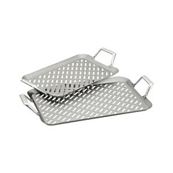 Set of 2 Stainless Steel Handled Grill Grids