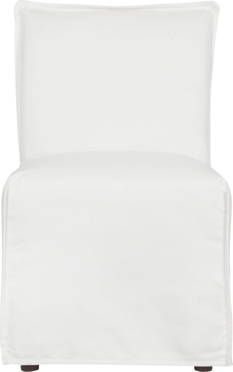 This sleek white slipcovered chair looks like it could be right at home in a modern urban loft. But don't bother to come inside—our eco-friendly Catalina collection is designed to live carefree outdoors under blue skies. Under that UV-, fade- and moisture-resistant Sunbrella® sailcloth slipcover (yes, it's even machine-washable), you'll find a thoughtfully crafted chair made in the USA at the same furniture workshop as many of our living room upholstered collections. A 15-ply outdoor-grade sustainable birch plywood frame subtly slopes the seat deck front to back to drain water properly from an open bottom slot. Plush cushions are a reticulated open-cell foam that allows water to drain. Comfortable back cushion is protected by waterproof ticking. Upholstered in Sunbrella base cloth sand, an open-weave fabric that accelerates drainage and allows cushions and pillows to breath, with a bottom zipper to drain water and release moisture.<br /><br />After you place your order, we will send a fabric swatch via next day air for your final approval. We will contact you to verify both your receipt and approval of the fabric swatch before finalizing your order.<br /><br /><NEWTAG/><ul><li>Eco-friendly construction</li><li>Outdoor-grade sustainable birch plywood frame</li><li>Seat cushion is are mildew-resistant, reticulated open-cell foam</li><li>Back cushion is filled with outdoor recycled fiber in a waterproof ticking</li><li>Slipcovered in 100% Sunbrella solution-dyed acrylic</li><li>Machine wash the removable slipcovers; line dry</li><li>Benchmade</li><li>Rustproof brushed aluminum legs</li><li>See additional frame options below</li><li>Made in USA</li></ul>