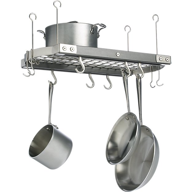 J k adams small grey ceiling pot rack crate and barrel for Overhead pots and pans rack