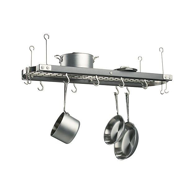 J k adams large grey ceiling pot rack crate and barrel for Overhead pots and pans rack