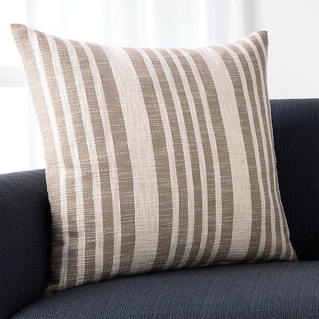 "Celena Grey Stripe 23"" Pillow with Down-Alternative Insert"