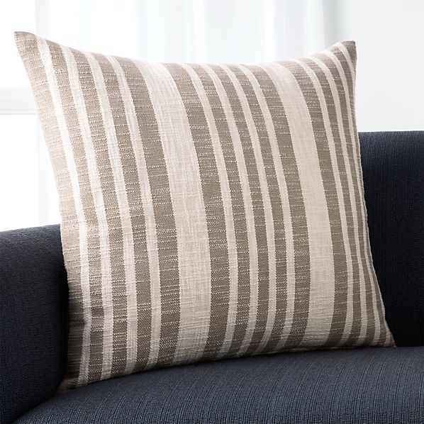 """Celena Grey Stripe 23"""" Pillow with Feather-Down Insert"""