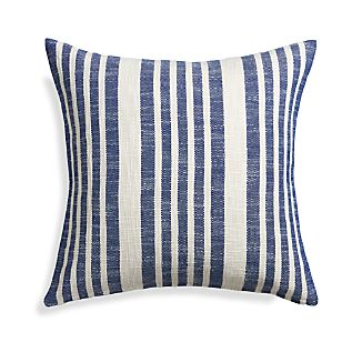 "Celena Blue Stripe 23"" Pillow with Down-Alternative Insert"