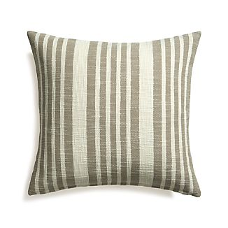 "Celena Grey Stripe 23"" Pillow with Feather-Down Insert"