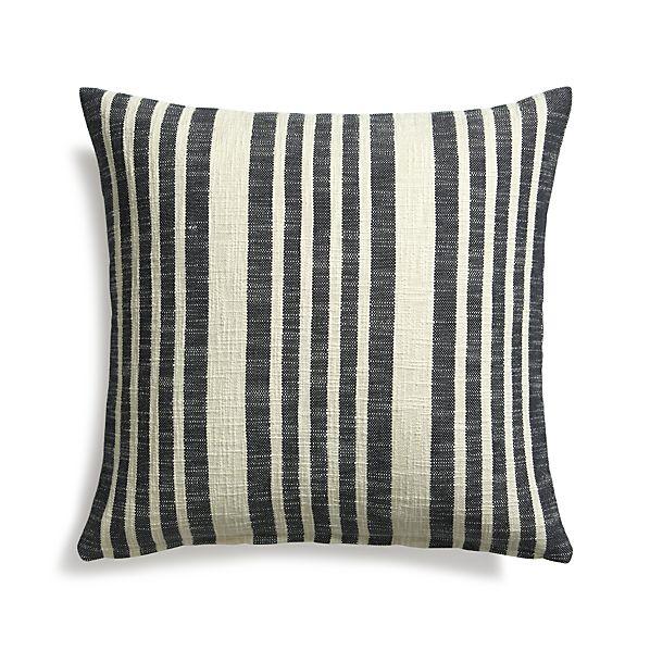 "Celena Midnight Stripe 23"" Pillow with Down-Alternative Insert"
