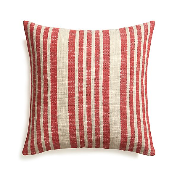 """Celena Red Stripe 23"""" Pillow with Feather Insert"""