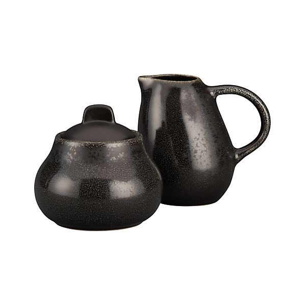 Jars Tourron Celeste Sugar Bowl with Lid and Creamer