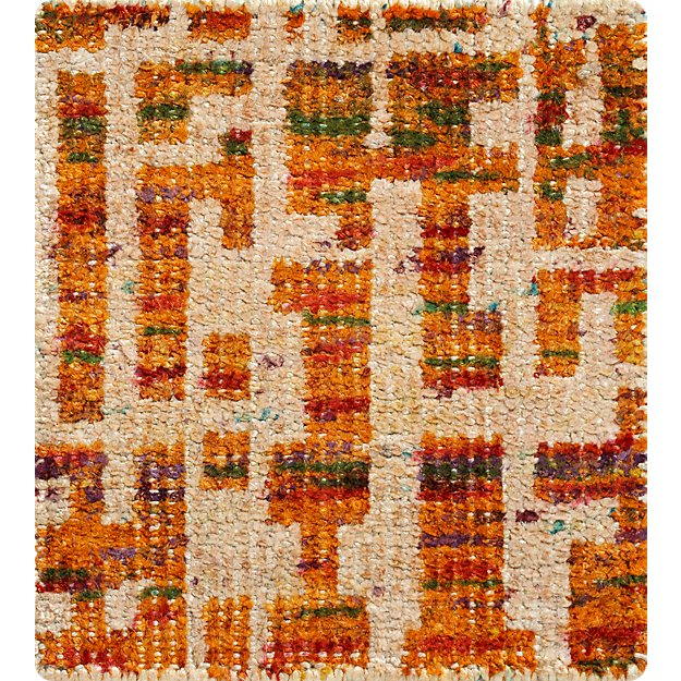 """Celosia Orange  Hand Knotted 12"""" sq. Rug Swatch"""