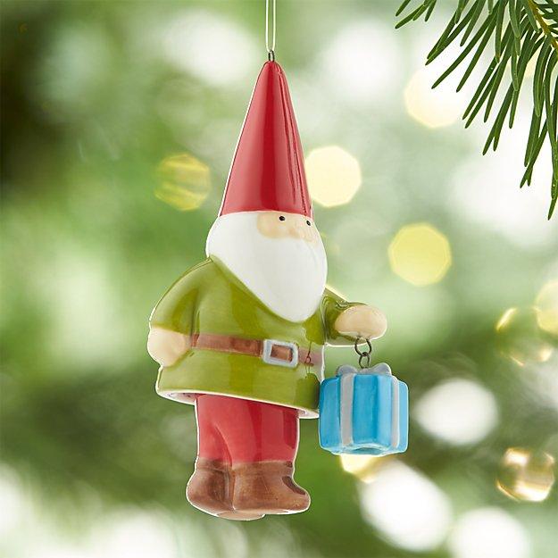 Dangle Legs Ceramic Gnome Ornament with Present