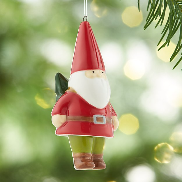 Dangle Legs Ceramic Gnome Ornament with Tree