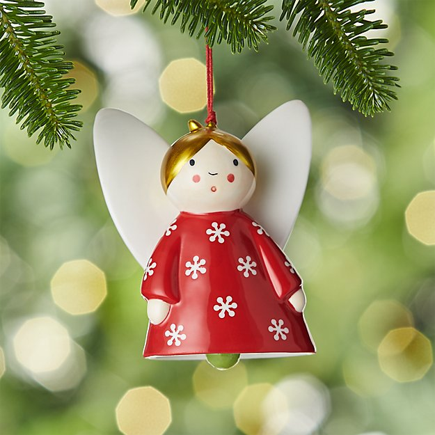 Ceramic Angel Bell Ornament with Blonde Hair