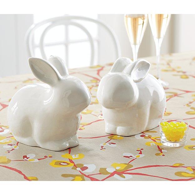 White Ceramic Bunnies