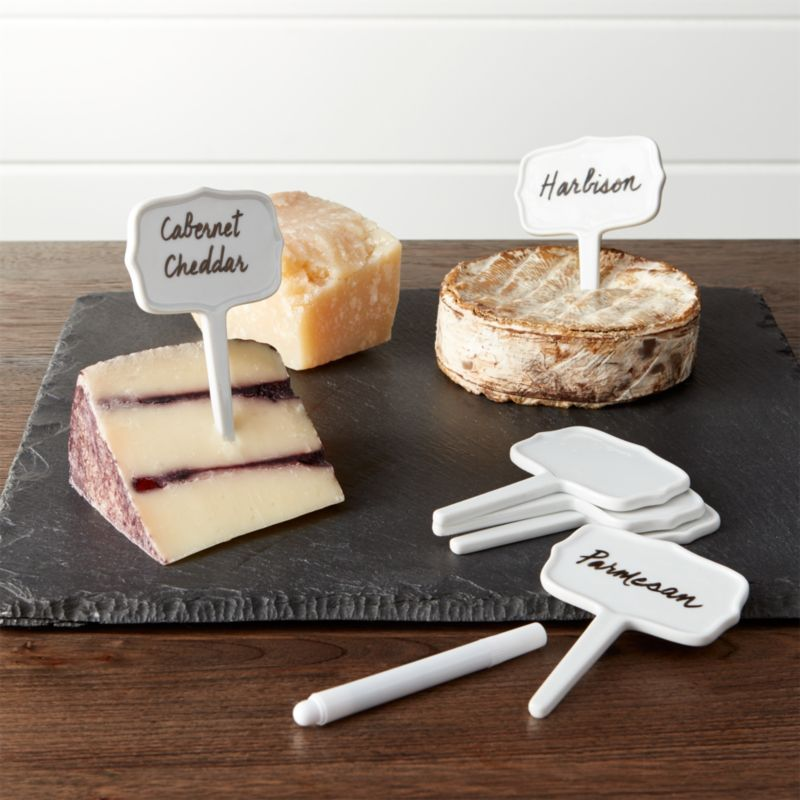 Ceramic Cheese Markers Set Of Six Crate And Barrel