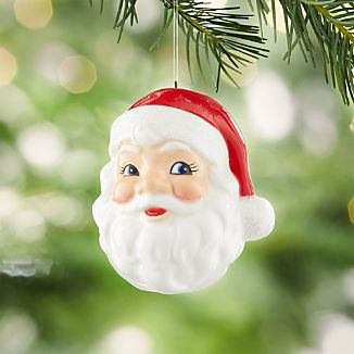 Chubby Santa Head Ceramic Ornament