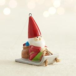 Ceramic Gnome Sledding