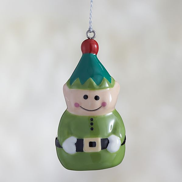 Ceramic Holiday Elf Ornament