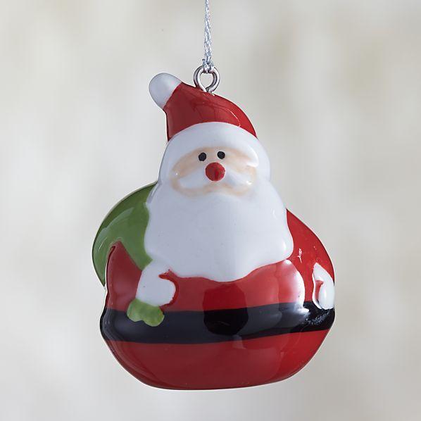 Ceramic Holiday Santa Ornament