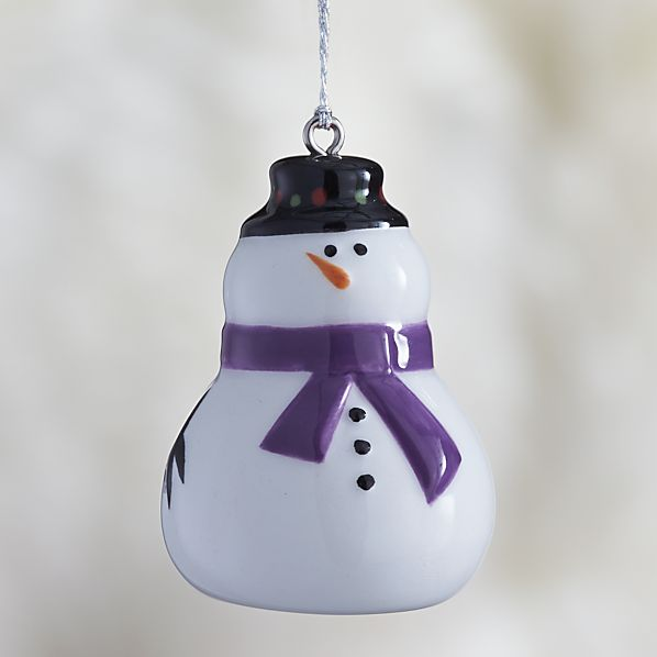 Ceramic Holiday Snowman Ornament