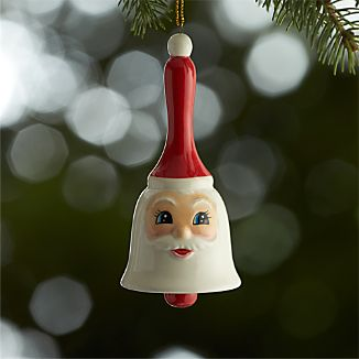 Ceramic Santa Bell Ornament