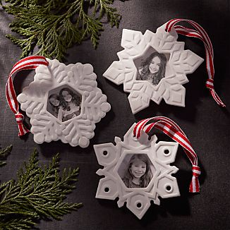 Set of 3 Porcelain Photo Frame Ornaments