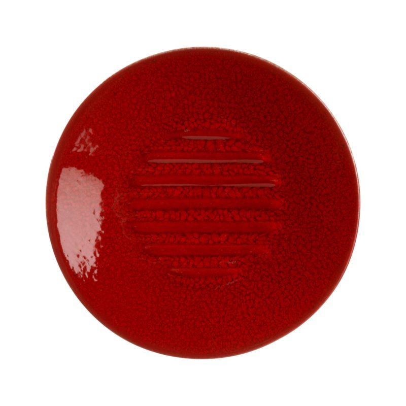 A simple disk of vibrant red ceramic keeps soap scum off of counters and sinks.<br /><br /><NEWTAG/><ul><li>Earthenware composite</li><li>Red glaze</li><li>Hand wash</li><li>Made in Portugal</li></ul>