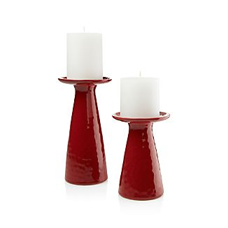 Cerise Red Pillar Candle Holders