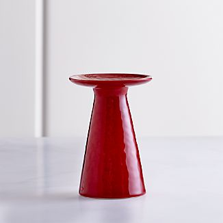 Cerise Red Short Pillar Candle Holder