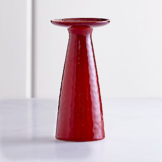 Cerise Red Tall Pillar Candle Holder