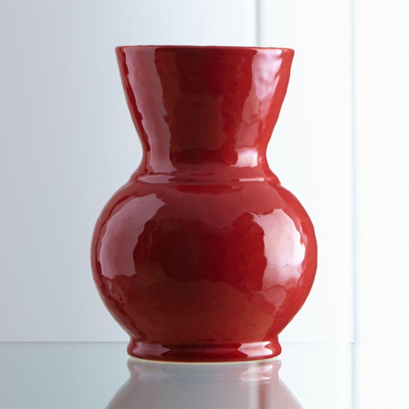Cerise Large Red Vase