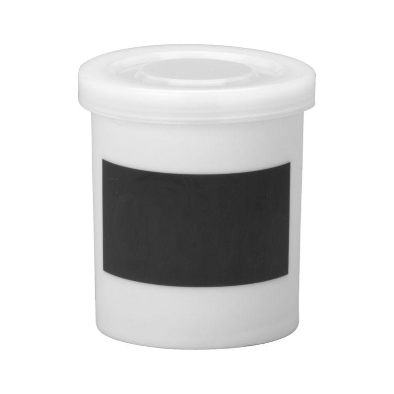 "Mini white porcelain canister features clean lines, snap-tight plastic lid and a ""chalkboard"" strip to label the contents.<br /><br /><NEWTAG/><ul><li>Porcelain</li><li>Plastic lid</li><li>Erasable chalkboard strip</li><li>Hand wash</li><li>Made in China</li></ul>"