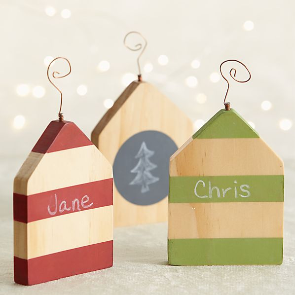 Set of 3 Chalkboard House Ornaments