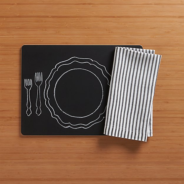 Chalkboard Placemat and Liam Grey Stripe Linen Napkin