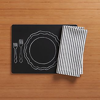 Chalkboard Placemat and Liam Grey Stripe Napkin