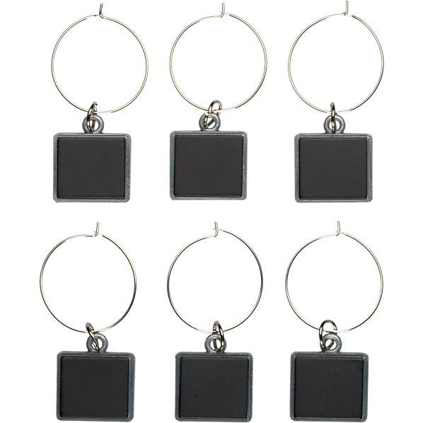 Set of 6 Chalkboard Wine Charms
