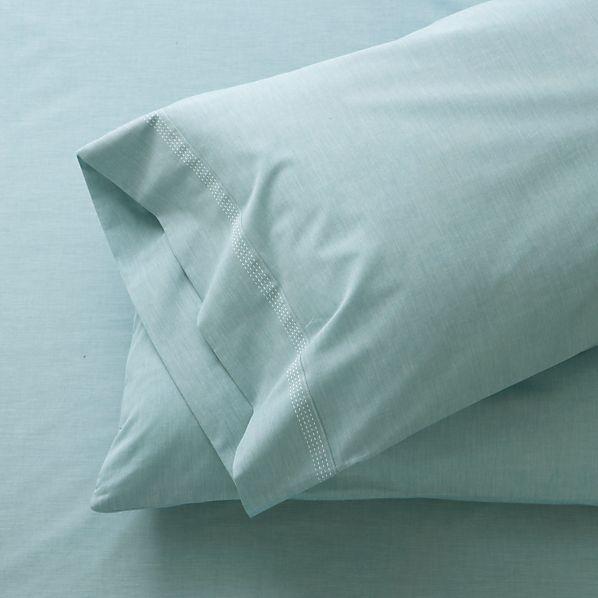 Set of 2 Chambray Blue Standard Pillowcases