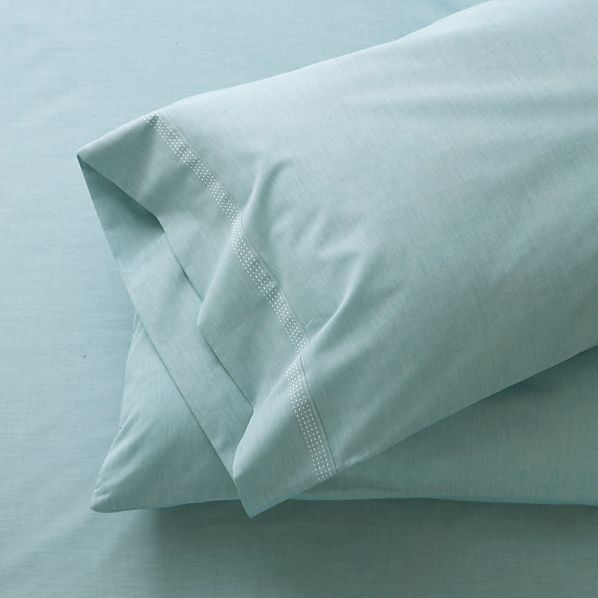 Set of 2 Chambray Blue Standard Pillowcases