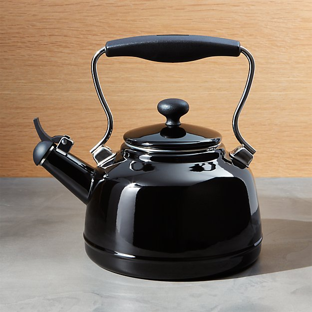 Chantal 174 Vintage Black Whistling Tea Kettle Crate And