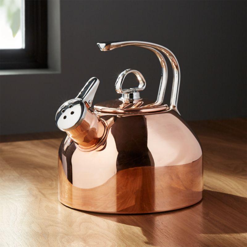 chantal classic copper tea kettle crate  barrel