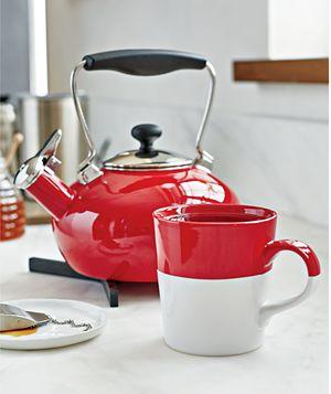 Chantal ® Red Bridge Steel Enamel Tea Kettle