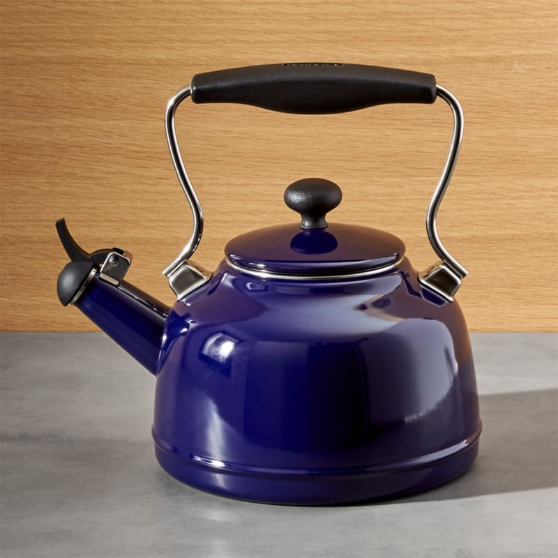Chantal vintage cobalt blue steel enamel tea kettle crate and barrel - Chantal teapots ...