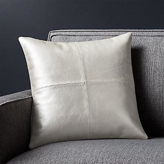 """Chaz Pearl Leather 16"""" Pillow with Down-Alternative Insert"""