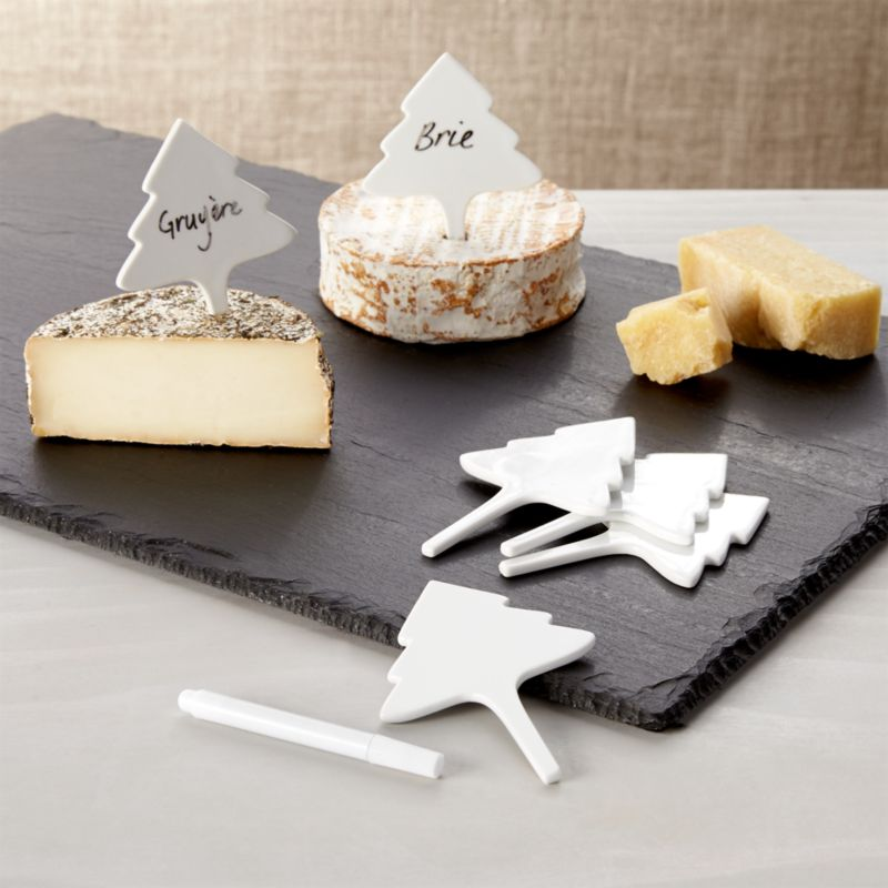 Porcelain Christmas Tree Cheese Markers Set