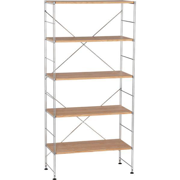 Chrome 5-Shelf Unit with Wood Shelves