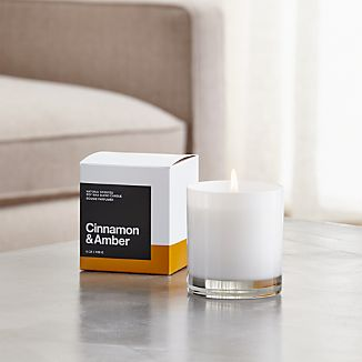 A flicker of fragrance to renew home and spirit. Our exclusive collection of handpoured, soy-blend candles brings together unique scent pairings to express your style and mood. The warming sweetness of cinnamon and the powdery aroma of amber mingle with essences of orange flower, clove, nutmeg, white jasmine, pine, vanilla absolute, oak and musk.
